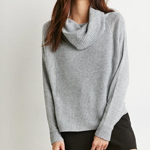 Rubbed grey cowl neck sweater